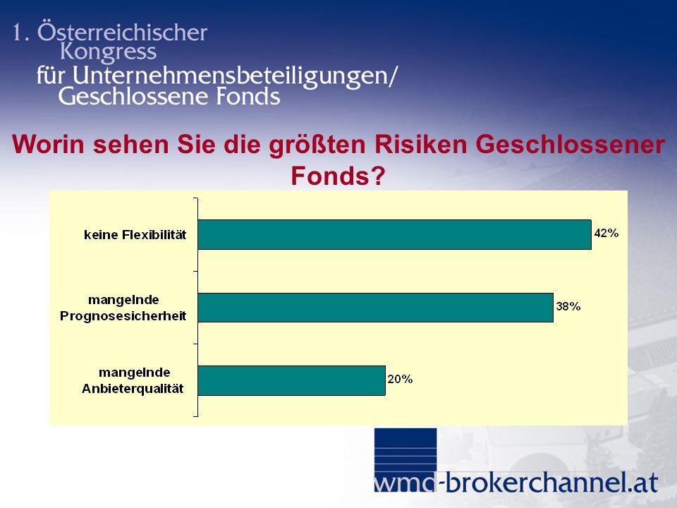 Worin sehen Sie die größten Risiken Geschlossener Fonds?