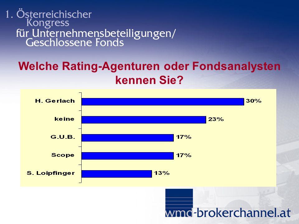 Welche Rating-Agenturen oder Fondsanalysten kennen Sie?