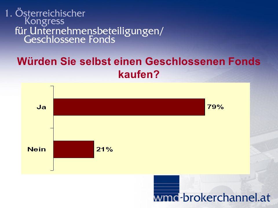 Würden Sie selbst einen Geschlossenen Fonds kaufen?