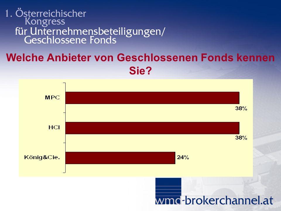 Welche Anbieter von Geschlossenen Fonds kennen Sie?