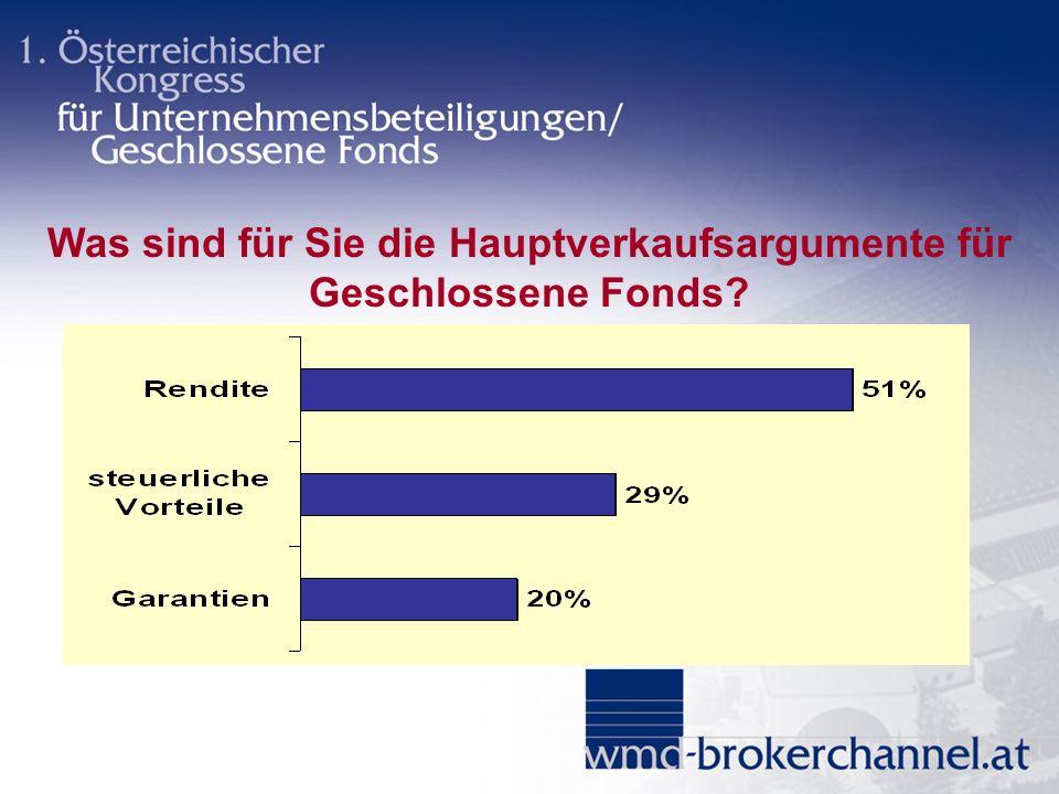 Was sind für Sie die Hauptverkaufsargumente für Geschlossene Fonds?