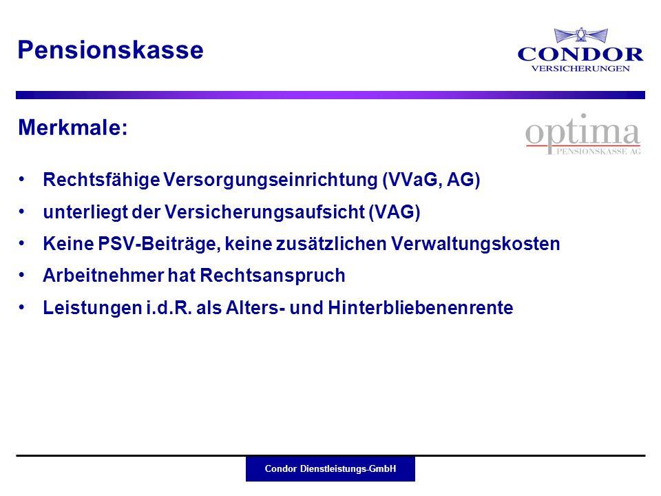 Condor Dienstleistungs-GmbH Merkmale: Rechtsfähige Versorgungseinrichtung (VVaG, AG) unterliegt der Versicherungsaufsicht (VAG) Keine PSV-Beiträge, ke