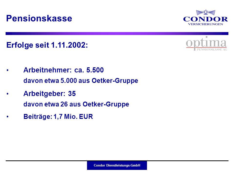 Condor Dienstleistungs-GmbH Erfolge seit 1.11.2002: Pensionskasse Arbeitnehmer: ca. 5.500 davon etwa 5.000 aus Oetker-Gruppe Arbeitgeber: 35 davon etw