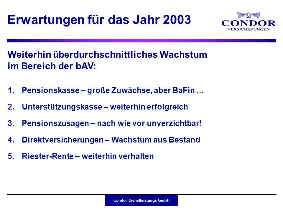 Condor Dienstleistungs-GmbH Erwartungen für das Jahr 2003 Weiterhin überdurchschnittliches Wachstum im Bereich der bAV: 1.Pensionskasse – große Zuwäch