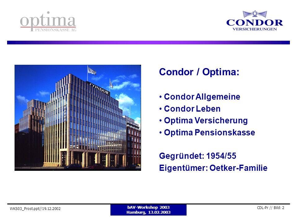 bAV-Workshop 2003 Hamburg, 13.02.2003 WKS03_Prost.ppt//19.12.2002 CDL-Pr // Bild: 2 Condor / Optima: Condor Allgemeine Condor Leben Optima Versicherun