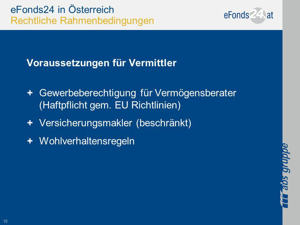 18 eFonds24 in Österreich Rechtliche Rahmenbedingungen Voraussetzungen für Vermittler +Gewerbeberechtigung für Vermögensberater (Haftpflicht gem.