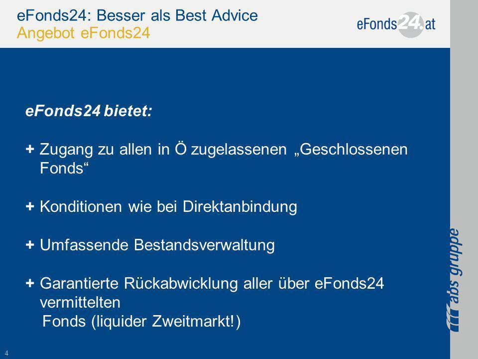 4 eFonds24: Besser als Best Advice Angebot eFonds24 eFonds24 bietet: +Zugang zu allen in Ö zugelassenen Geschlossenen Fonds +Konditionen wie bei Direktanbindung +Umfassende Bestandsverwaltung +Garantierte Rückabwicklung aller über eFonds24 vermittelten Fonds (liquider Zweitmarkt!)
