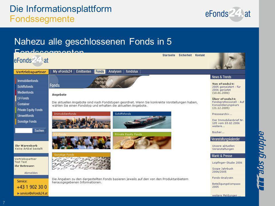 7 Die Informationsplattform Fondssegmente Nahezu alle geschlossenen Fonds in 5 Fondssegmenten