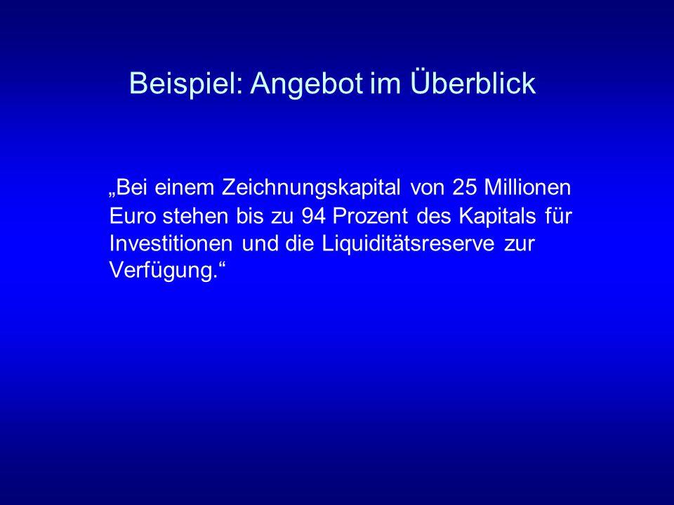 Beispiel: Angebot im Überblick Bei einem Zeichnungskapital von 25 Millionen Euro stehen bis zu 94 Prozent des Kapitals für Investitionen und die Liqui