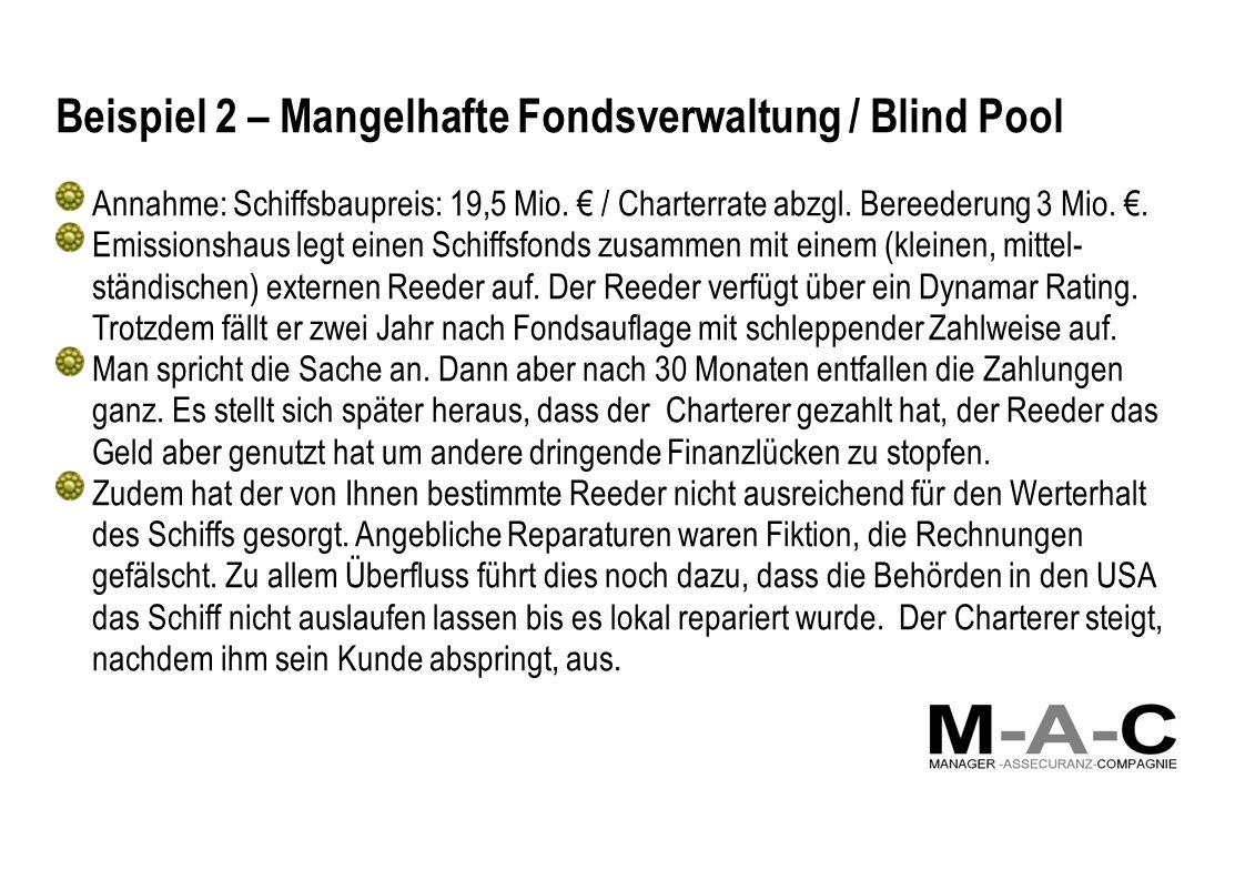 Beispiel 2 – Mangelhafte Fondsverwaltung / Blind Pool Annahme: Schiffsbaupreis: 19,5 Mio. / Charterrate abzgl. Bereederung 3 Mio.. Emissionshaus legt