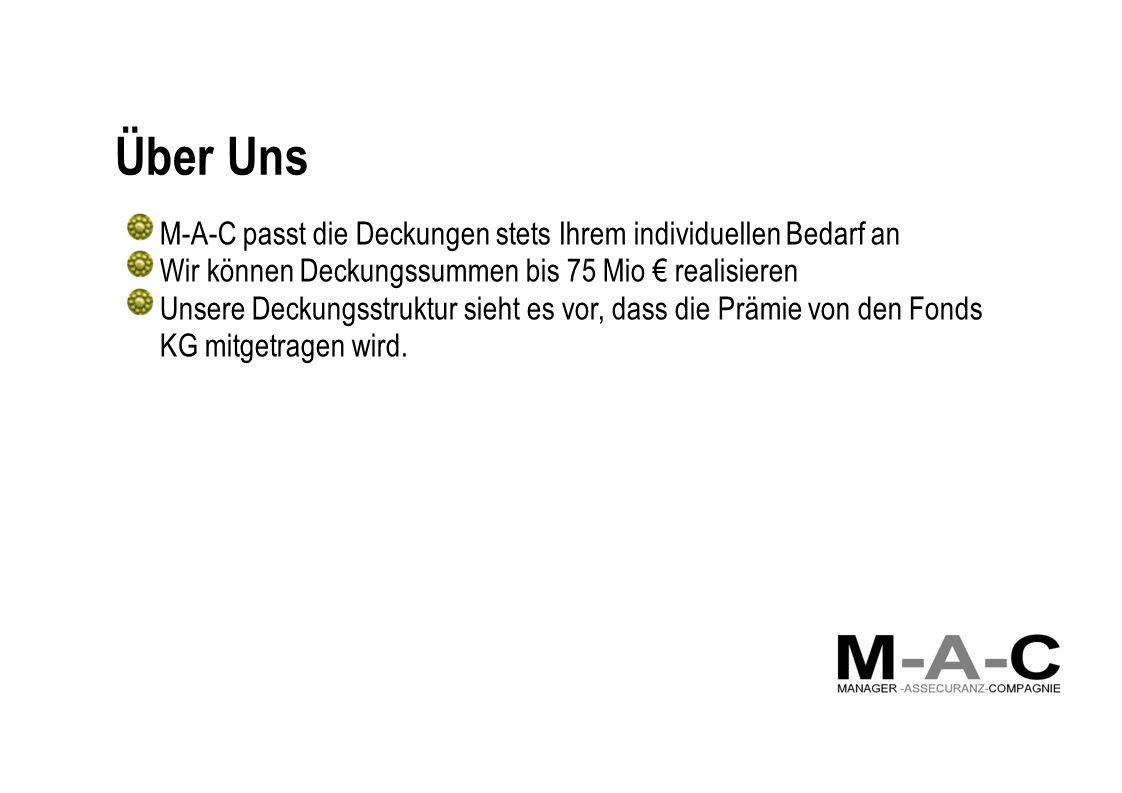 Über Uns M-A-C passt die Deckungen stets Ihrem individuellen Bedarf an Wir können Deckungssummen bis 75 Mio realisieren Unsere Deckungsstruktur sieht es vor, dass die Prämie von den Fonds KG mitgetragen wird.