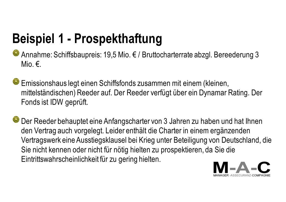 Beispiel 1 - Prospekthaftung Annahme: Schiffsbaupreis: 19,5 Mio.