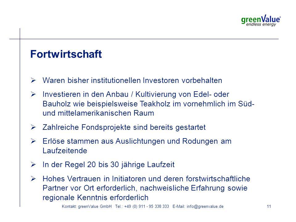 Kontakt: greenValue GmbH Tel.: +49 (0) 911 - 95 338 333 E-Mail: info@greenvalue.de11 Fortwirtschaft Waren bisher institutionellen Investoren vorbehalten Investieren in den Anbau / Kultivierung von Edel- oder Bauholz wie beispielsweise Teakholz im vornehmlich im Süd- und mittelamerikanischen Raum Zahlreiche Fondsprojekte sind bereits gestartet Erlöse stammen aus Auslichtungen und Rodungen am Laufzeitende In der Regel 20 bis 30 jährige Laufzeit Hohes Vertrauen in Initiatoren und deren forstwirtschaftliche Partner vor Ort erforderlich, nachweisliche Erfahrung sowie regionale Kenntnis erforderlich