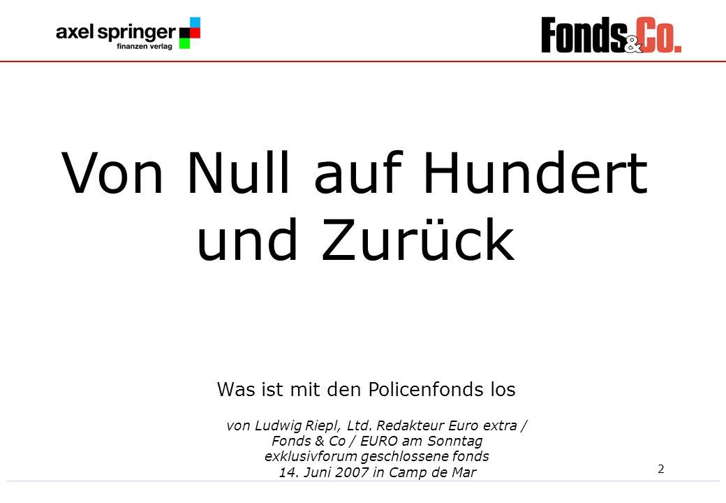 2 von Ludwig Riepl, Ltd. Redakteur Euro extra / Fonds & Co / EURO am Sonntag exklusivforum geschlossene fonds 14. Juni 2007 in Camp de Mar Was ist mit