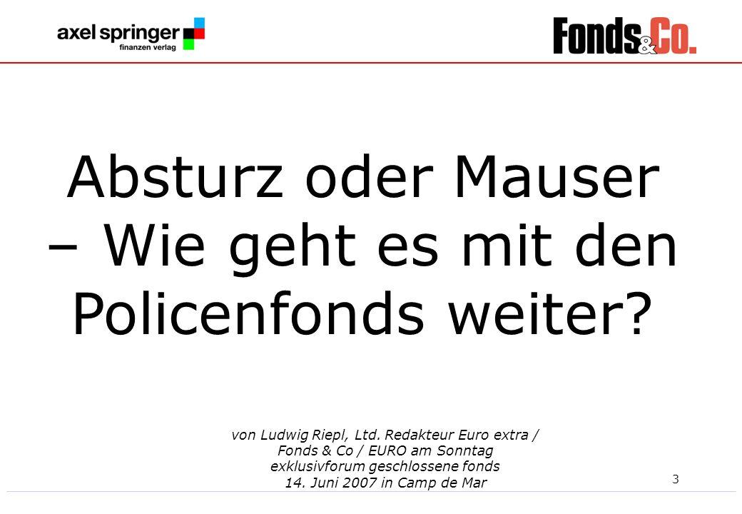 3 von Ludwig Riepl, Ltd. Redakteur Euro extra / Fonds & Co / EURO am Sonntag exklusivforum geschlossene fonds 14. Juni 2007 in Camp de Mar Absturz ode