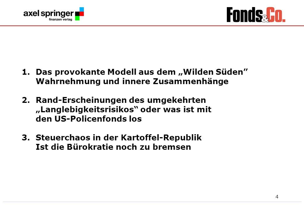 5 Vor der Kür die Pflicht, damit Sie wissen, mit wem sie es zu tun haben Publikationen der Axel Springer Finanzen Verlag Gesellschaft, der deutschen Finanz-Informationstochter des Berliner Axel Springer Konzerns.