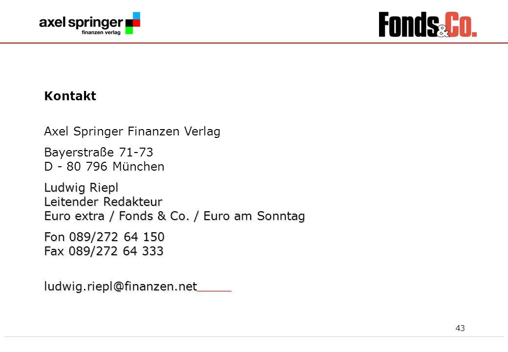 43 Kontakt Axel Springer Finanzen Verlag Bayerstraße 71-73 D - 80 796 München Ludwig Riepl Leitender Redakteur Euro extra / Fonds & Co. / Euro am Sonn