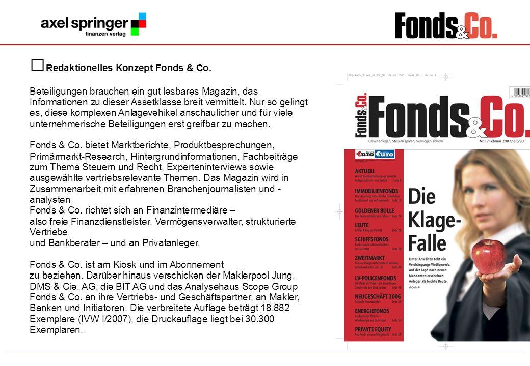 6 Redaktionelles Konzept Fonds & Co. Beteiligungen brauchen ein gut lesbares Magazin, das Informationen zu dieser Assetklasse breit vermittelt. Nur so