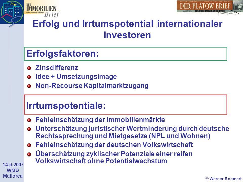 © Werner Rohmert 14.6.2007 WMD Mallorca Erfolg und Irrtumspotential internationaler Investoren Erfolgsfaktoren: Zinsdifferenz Idee + Umsetzungsimage N