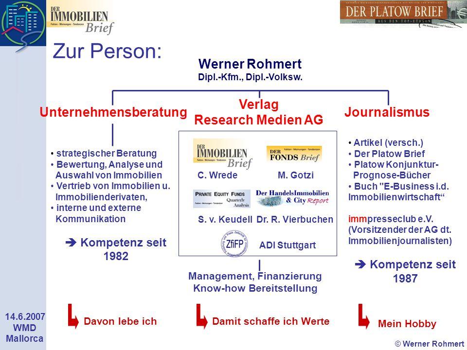 © Werner Rohmert 14.6.2007 WMD Mallorca Zur Person: Werner Rohmert Dipl.-Kfm., Dipl.-Volksw. Management, Finanzierung Know-how Bereitstellung strategi