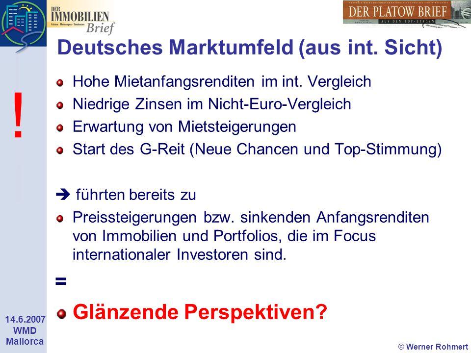 © Werner Rohmert 14.6.2007 WMD Mallorca Deutsches Marktumfeld (aus int. Sicht) Hohe Mietanfangsrenditen im int. Vergleich Niedrige Zinsen im Nicht-Eur