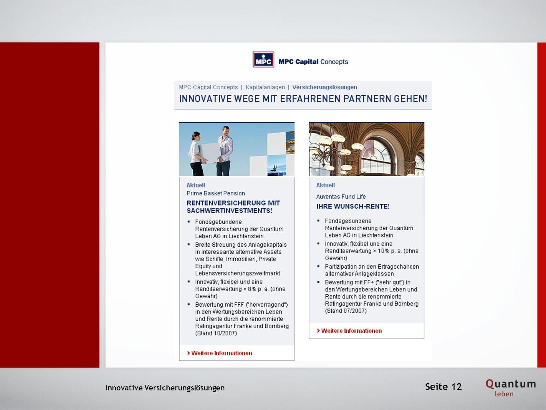 Innovative Versicherungslösungen Seite 12