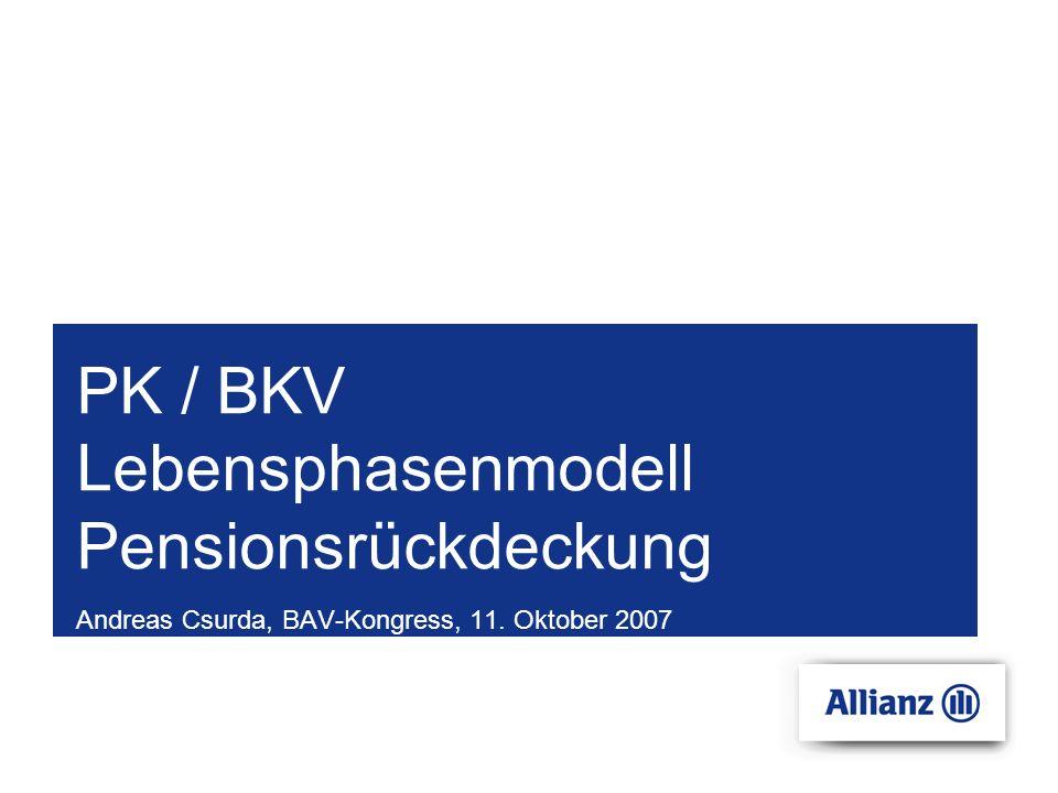 PK / BKV Lebensphasenmodell Pensionsrückdeckung Andreas Csurda, BAV-Kongress, 11. Oktober 2007