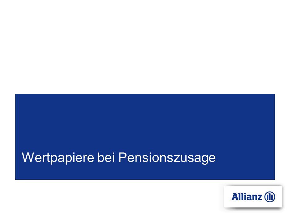© Copyright Allianz Elementar Lebensversicherungs- AG 11.10.2007 Valorisierung der Rente: 3 % Pensionszahlung : Rückstellung nach Pensionsantritt Pensionszusage - Pensionsantritt