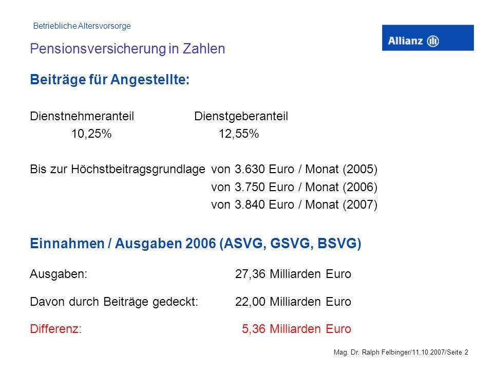 Betriebliche Altersvorsorge Mag. Dr. Ralph Felbinger/11.10.2007/Seite 12