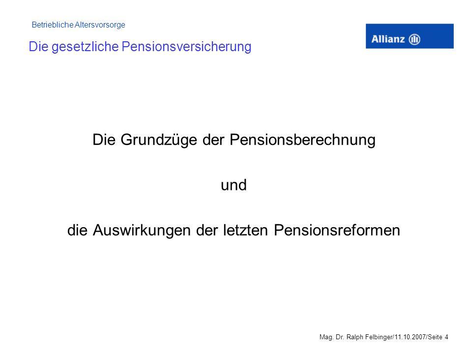 Betriebliche Altersvorsorge Mag.Dr.