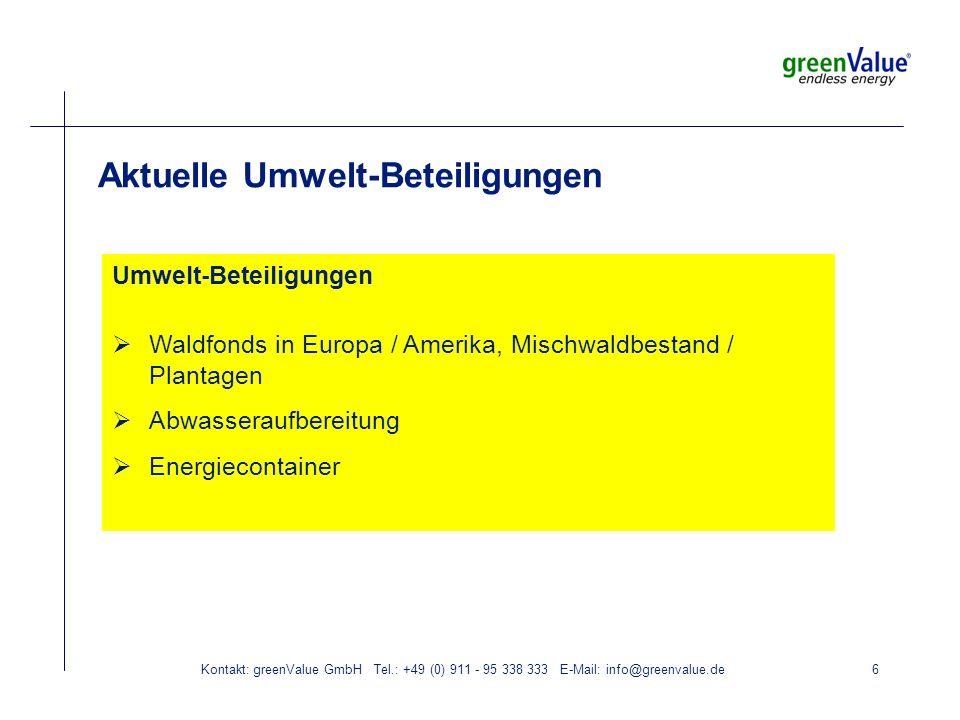 Kontakt: greenValue GmbH Tel.: +49 (0) 911 - 95 338 333 E-Mail: info@greenvalue.de6 Aktuelle Umwelt-Beteiligungen Umwelt-Beteiligungen Waldfonds in Europa / Amerika, Mischwaldbestand / Plantagen Abwasseraufbereitung Energiecontainer