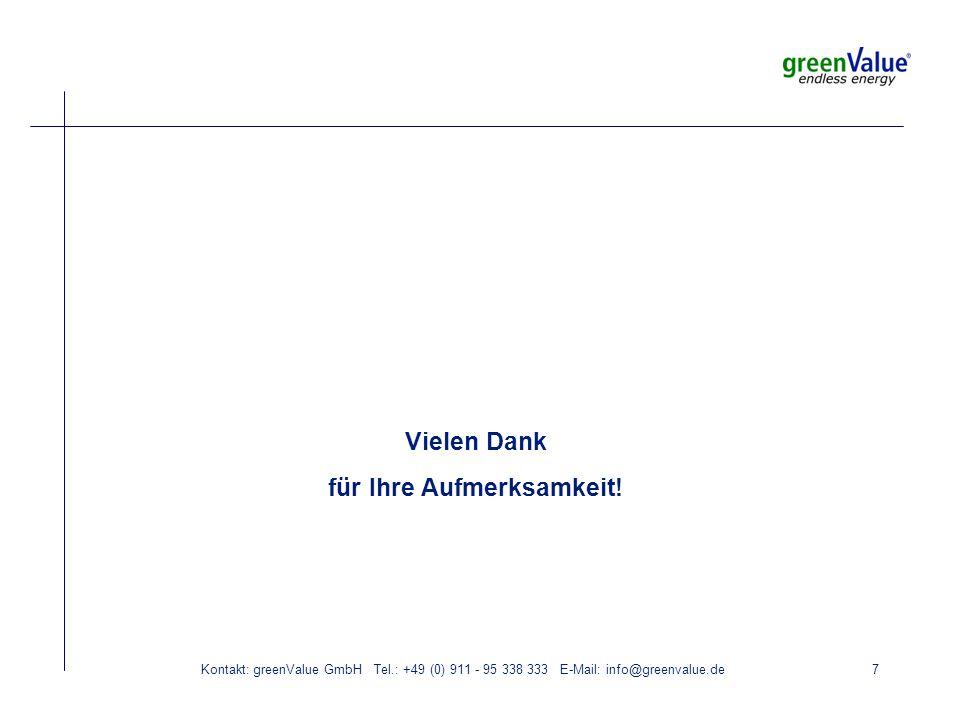 Kontakt: greenValue GmbH Tel.: +49 (0) 911 - 95 338 333 E-Mail: info@greenvalue.de7 Vielen Dank für Ihre Aufmerksamkeit!