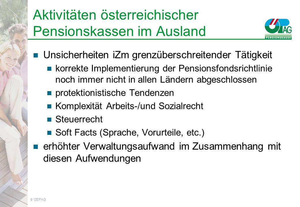 OEPAG Aktivitäten österreichischer Pensionskassen im Ausland Unsicherheiten iZm grenzüberschreitender Tätigkeit korrekte Implementierung der Pensionsfondsrichtlinie noch immer nicht in allen Ländern abgeschlossen protektionistische Tendenzen Komplexität Arbeits-/und Sozialrecht Steuerrecht Soft Facts (Sprache, Vorurteile, etc.) erhöhter Verwaltungsaufwand im Zusammenhang mit diesen Aufwendungen