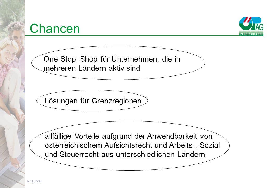 OEPAG Chancen One-Stop–Shop für Unternehmen, die in mehreren Ländern aktiv sind Lösungen für Grenzregionen allfällige Vorteile aufgrund der Anwendbarkeit von österreichischem Aufsichtsrecht und Arbeits-, Sozial- und Steuerrecht aus unterschiedlichen Ländern