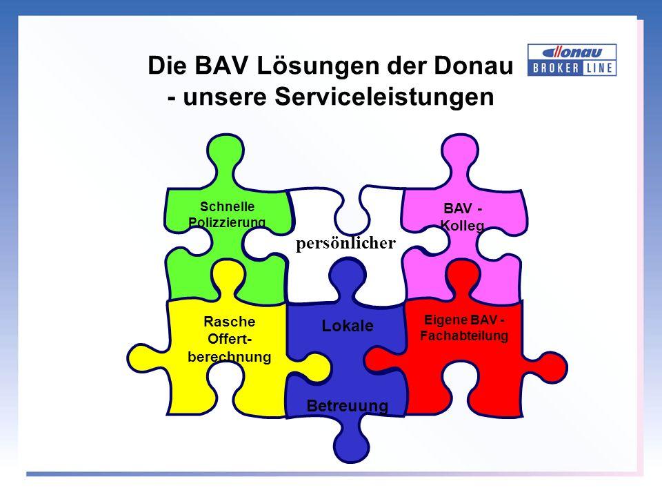 BAV - Kolleg Eigene BAV - Fachabteilung Lokale Betreuung Schnelle Polizzierung Rasche Offert- berechnung persönlicher Die BAV Lösungen der Donau - uns