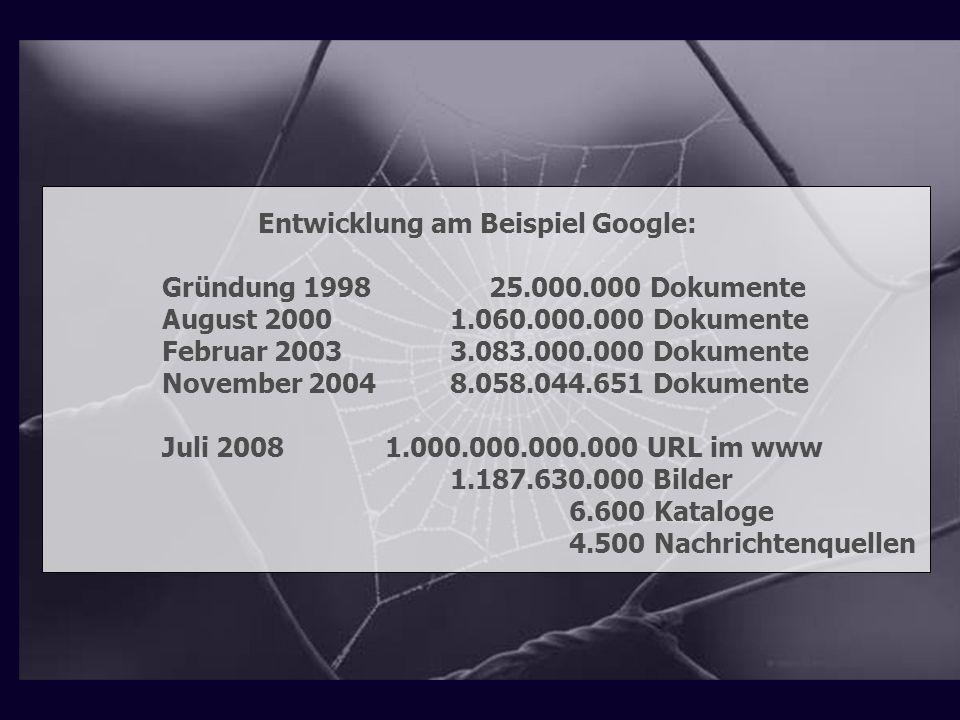 Entwicklung am Beispiel Google: Gründung 1998 25.000.000 Dokumente August 2000 1.060.000.000 Dokumente Februar 2003 3.083.000.000 Dokumente November 2
