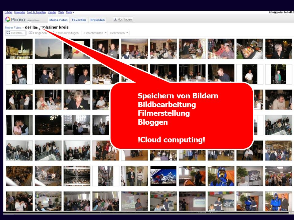 Speichern von Bildern Bildbearbeitung Filmerstellung Bloggen !Cloud computing!