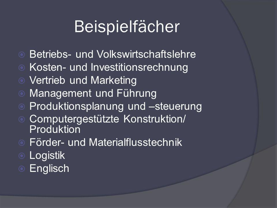 Beispielfächer Betriebs- und Volkswirtschaftslehre Kosten- und Investitionsrechnung Vertrieb und Marketing Management und Führung Produktionsplanung u