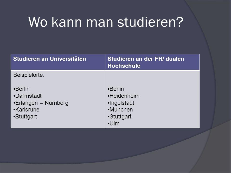 Wo kann man studieren? Studieren an UniversitätenStudieren an der FH/ dualen Hochschule Beispielorte: Berlin Darmstadt Erlangen – Nürnberg Karlsruhe S
