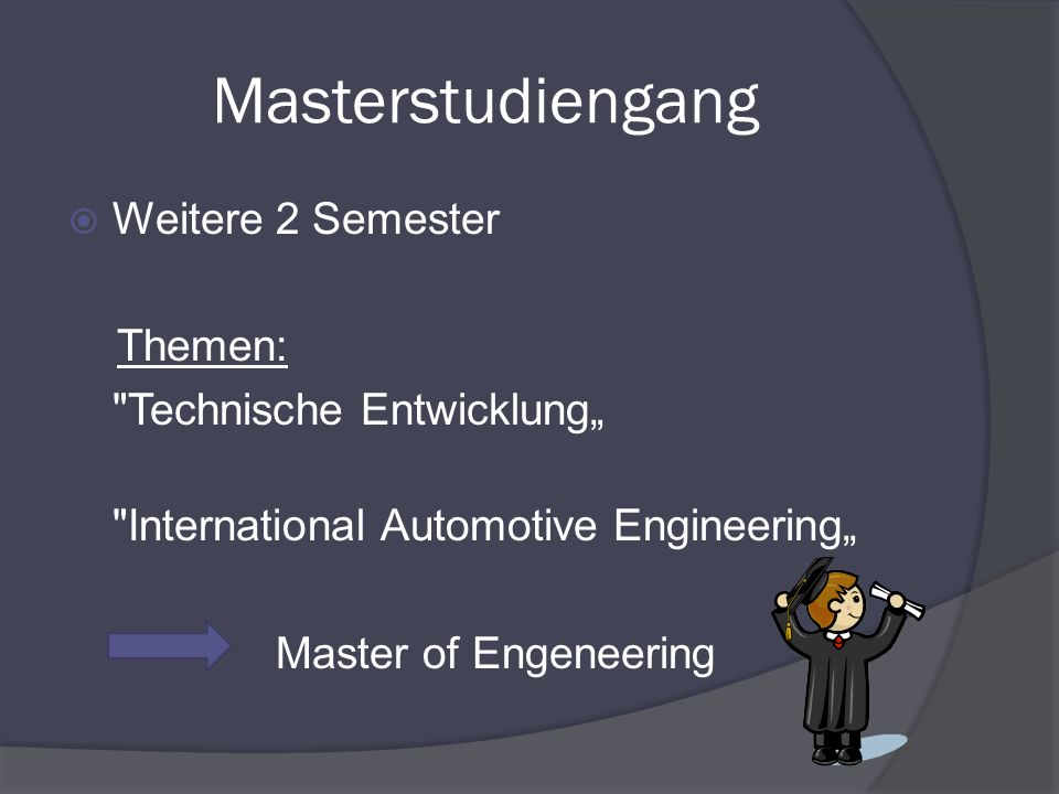 Masterstudiengang Weitere 2 Semester Themen: