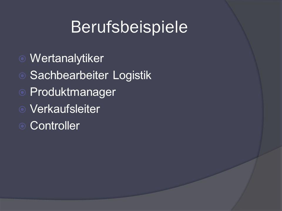 Berufsbeispiele Wertanalytiker Sachbearbeiter Logistik Produktmanager Verkaufsleiter Controller