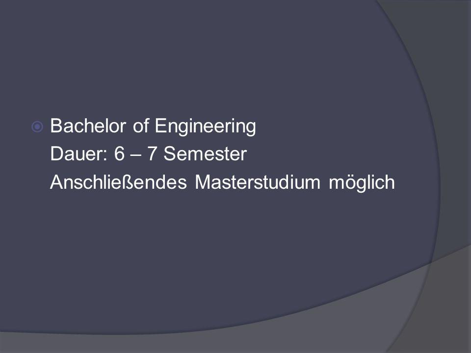 Bachelor of Engineering Dauer: 6 – 7 Semester Anschließendes Masterstudium möglich
