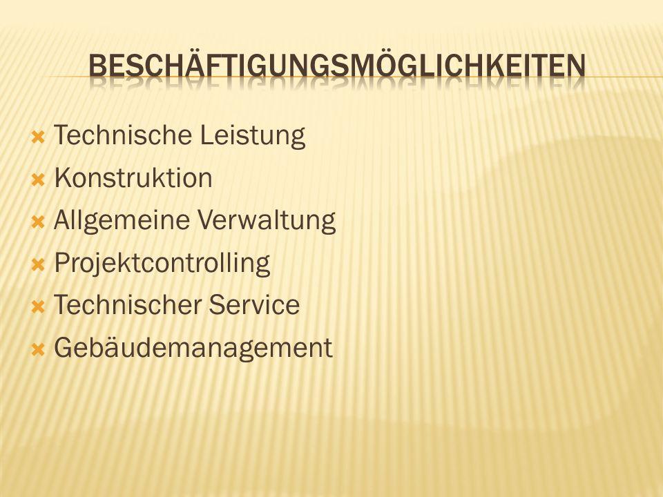 Technische Leistung Konstruktion Allgemeine Verwaltung Projektcontrolling Technischer Service Gebäudemanagement