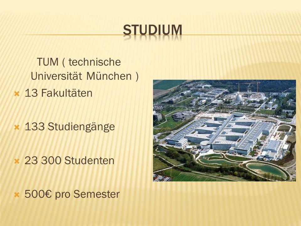 TUM ( technische Universität München ) 13 Fakultäten 133 Studiengänge 23 300 Studenten 500 pro Semester
