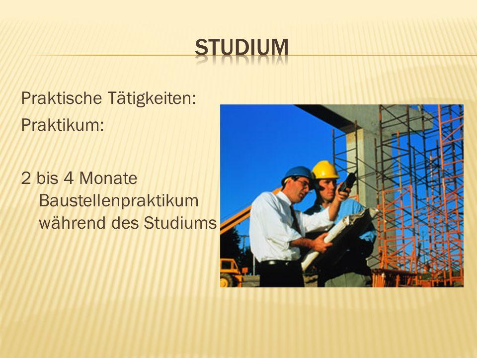 Praktische Tätigkeiten: Praktikum: 2 bis 4 Monate Baustellenpraktikum während des Studiums