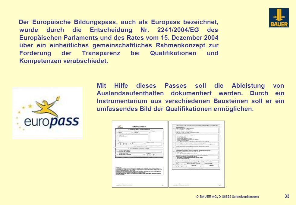 Der Europäische Bildungspass, auch als Europass bezeichnet, wurde durch die Entscheidung Nr.