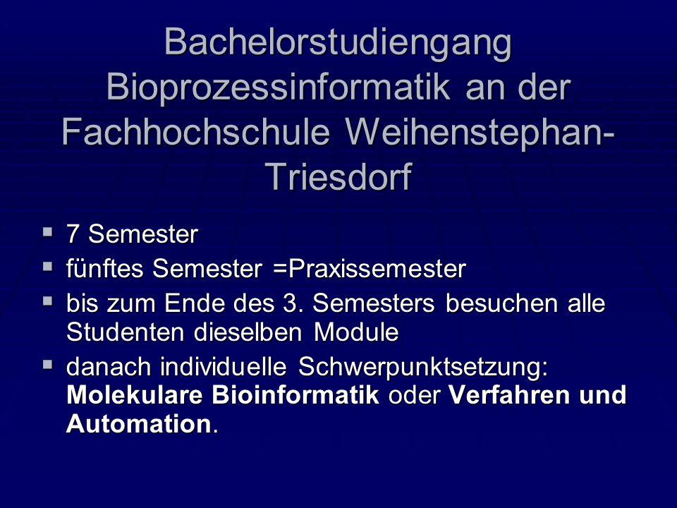 Bachelorstudiengang Bioprozessinformatik an der Fachhochschule Weihenstephan- Triesdorf 7 Semester 7 Semester fünftes Semester =Praxissemester fünftes