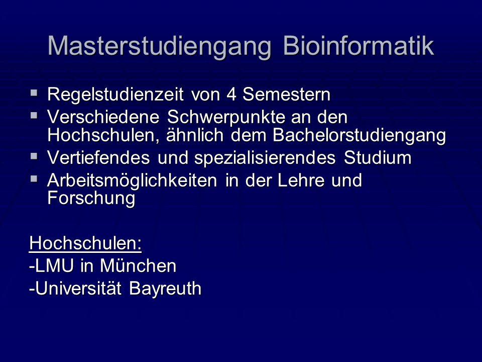 Masterstudiengang Bioinformatik Regelstudienzeit von 4 Semestern Regelstudienzeit von 4 Semestern Verschiedene Schwerpunkte an den Hochschulen, ähnlic