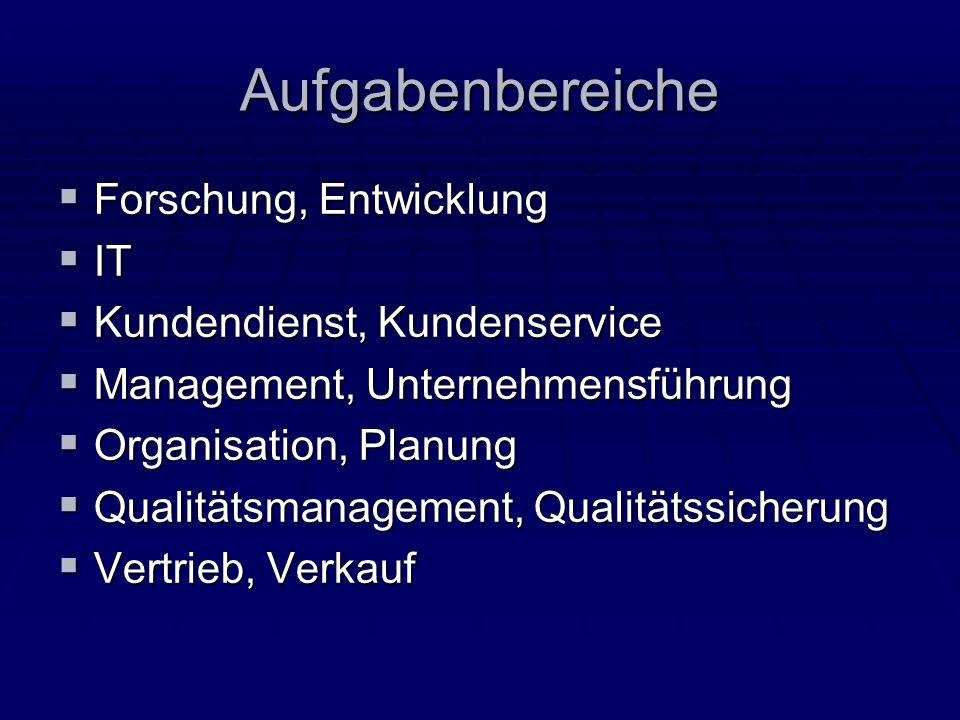 Aufgabenbereiche Forschung, Entwicklung Forschung, Entwicklung IT IT Kundendienst, Kundenservice Kundendienst, Kundenservice Management, Unternehmensf
