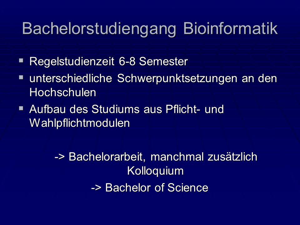 Bachelorstudiengang Bioinformatik Regelstudienzeit 6-8 Semester Regelstudienzeit 6-8 Semester unterschiedliche Schwerpunktsetzungen an den Hochschulen
